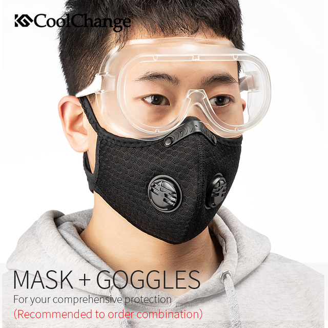 CoolChange Cycling Face Mask Filter Anit-fog Anit-pollution Breathable PM2.5 Activ Carbon Respirator Sports Bike Dust Mask 2