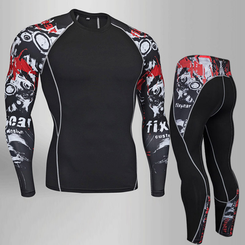 Quick-drying new mens fitness clothing casual sportswear suit trousers two-piece shirt T-shirt +