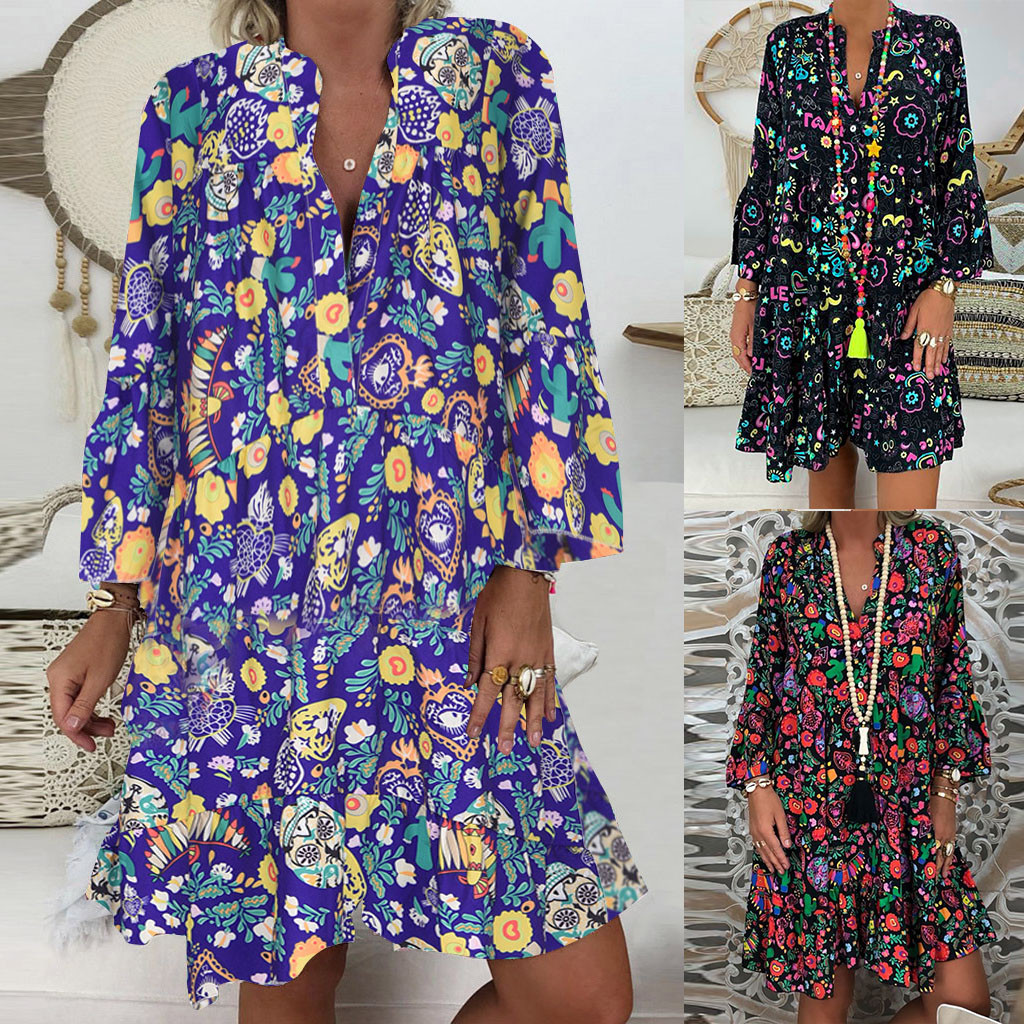S-<font><b>5XL</b></font> extra large size fashion <font><b>sexy</b></font> flower print mini dress summer bohemian style women's dress holiday beach party dress드레 image