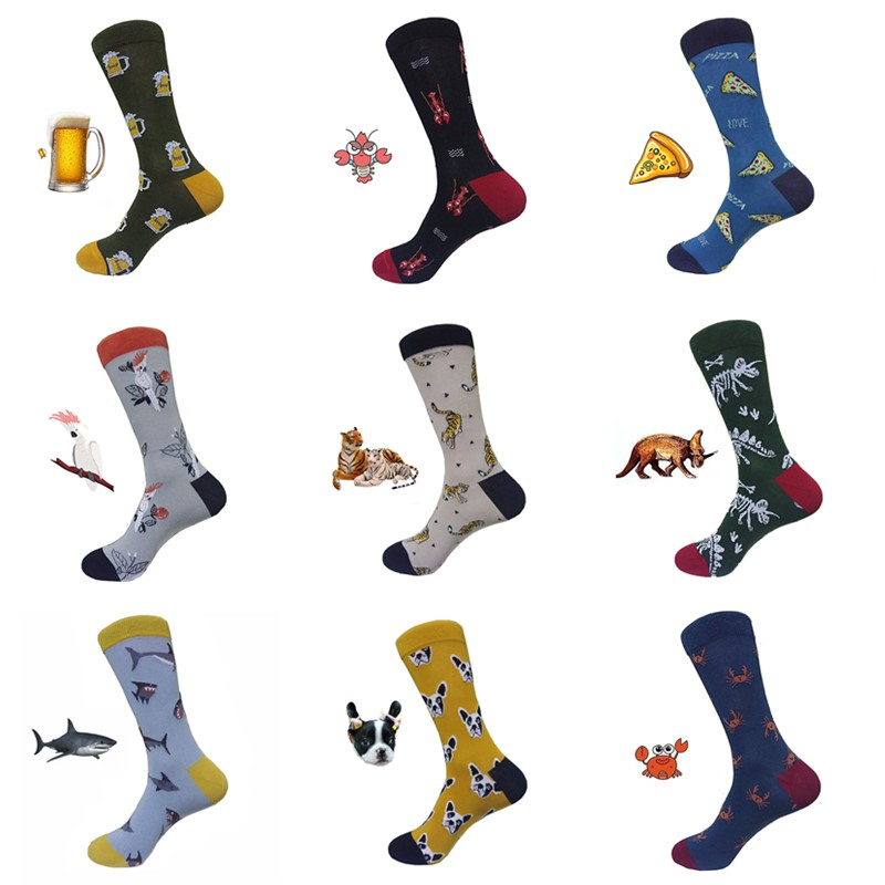 Man Funny Shark Beer Tiger Dinosaur Pizza Dog Pattern Crew Socks Street Hip Hop Skateboard Socks Fashion Happy Animal Long Socks