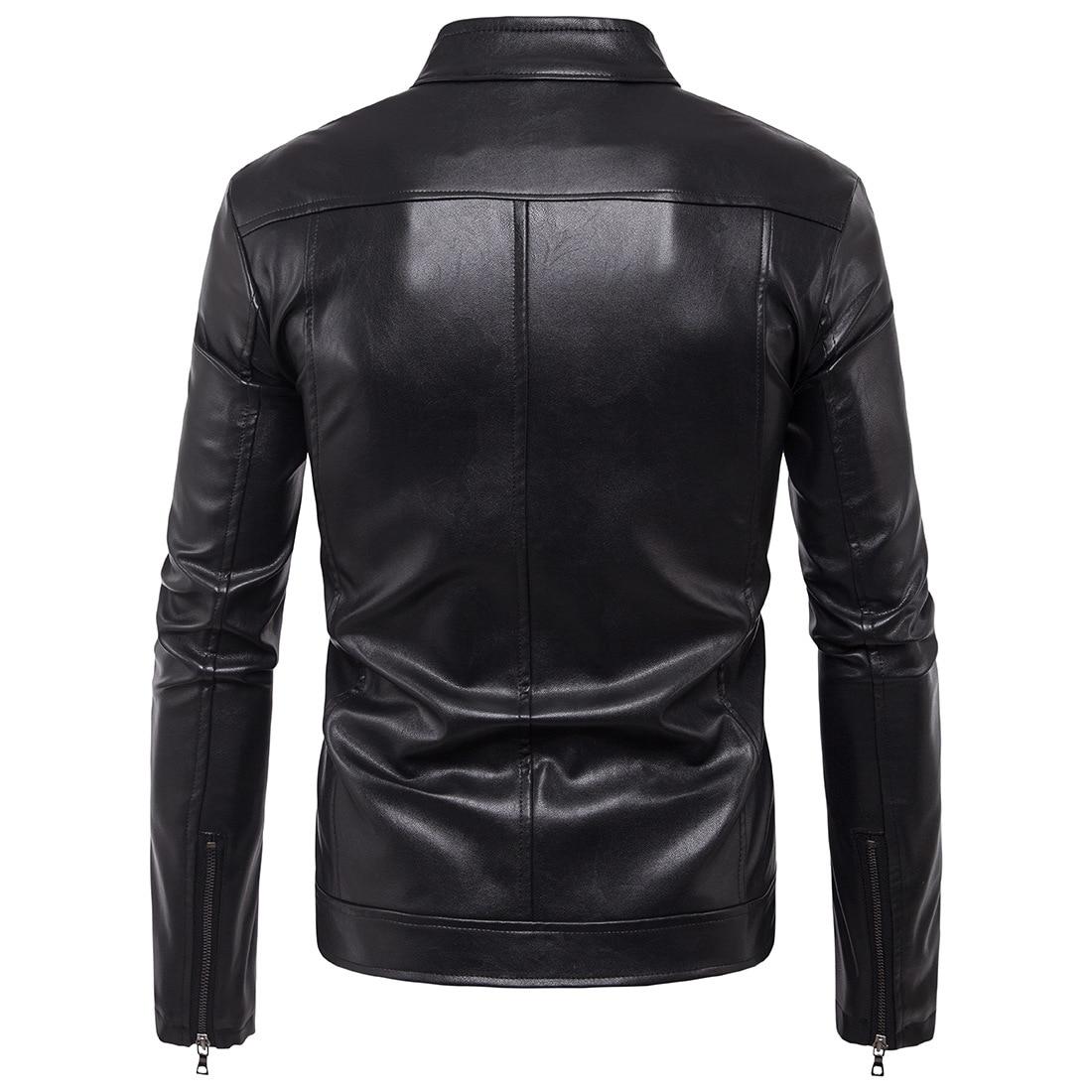 Ouma 2019 New Style Men Locomotive Rivet Leather Coat Handsome Leather Jacket Coat For B007