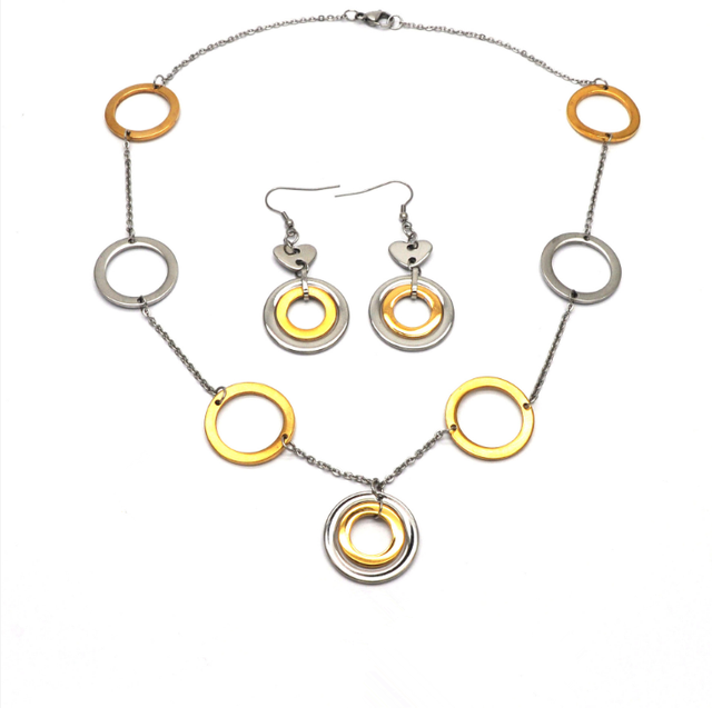 Circle Round jewelry set, Earring Necklace Pendant DUOCAIX 4