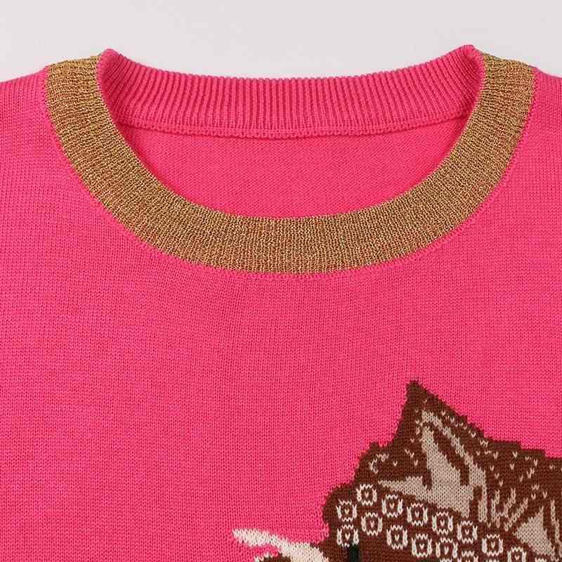 Commercio all'ingrosso Runway Disegno Lavorato A Maglia Pullover Del Manicotto Lungo di Modo Gatto Drago Jacquard di Inverno Delle Donne Maglione Maglione suéter mujer C-298