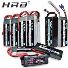 Bateria hrb lipo 2s 7.4v 3s 11.1v, 5000mah 4S v 6s 14.8v 1800mah 2200mah 2600mah 3300mah 4200mah 6000mah 1/10 carro hubsan h501