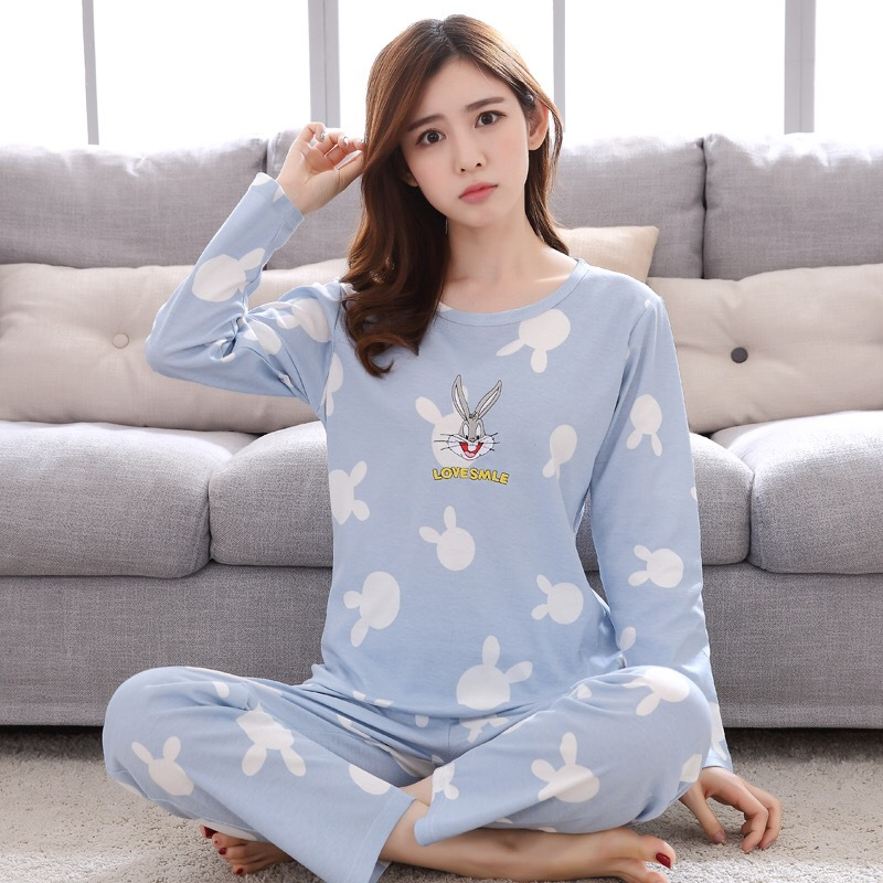 Shakespeare Fort Mei Chun Autumn New Products Pajamas Women's Autumn Thin Cartoon Cute GIRL'S Plus-sized Home Wear Two-Piece Set