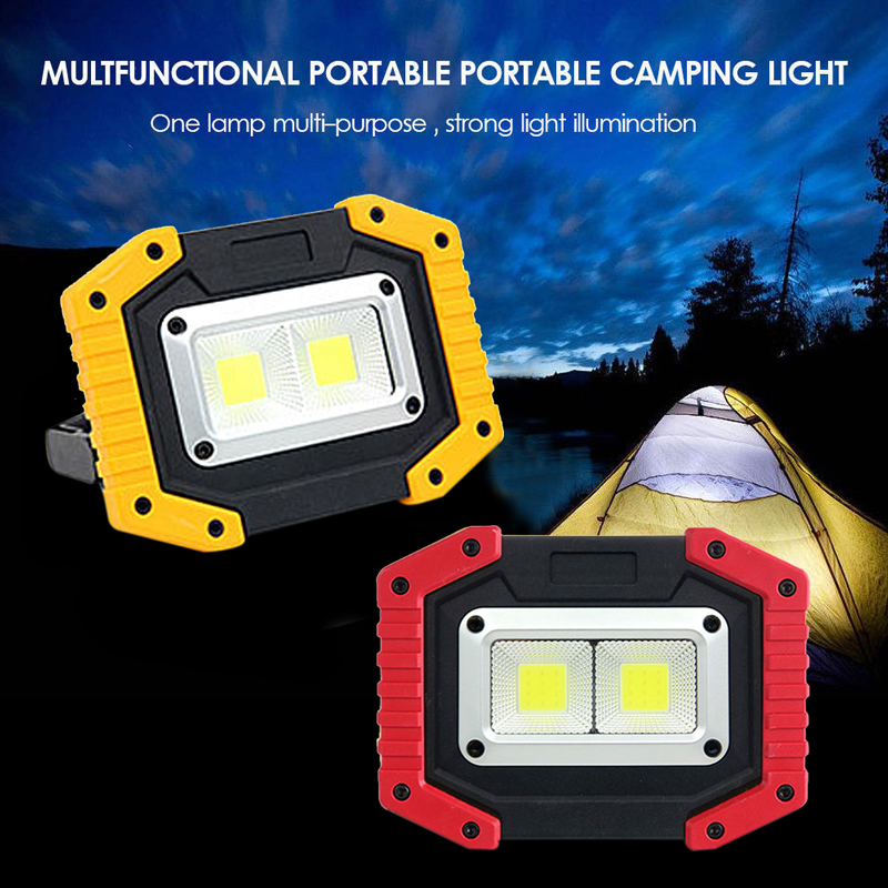 LED Work Light Waterproof Emergency USB Rechargeable Flood Lamp Power Bank