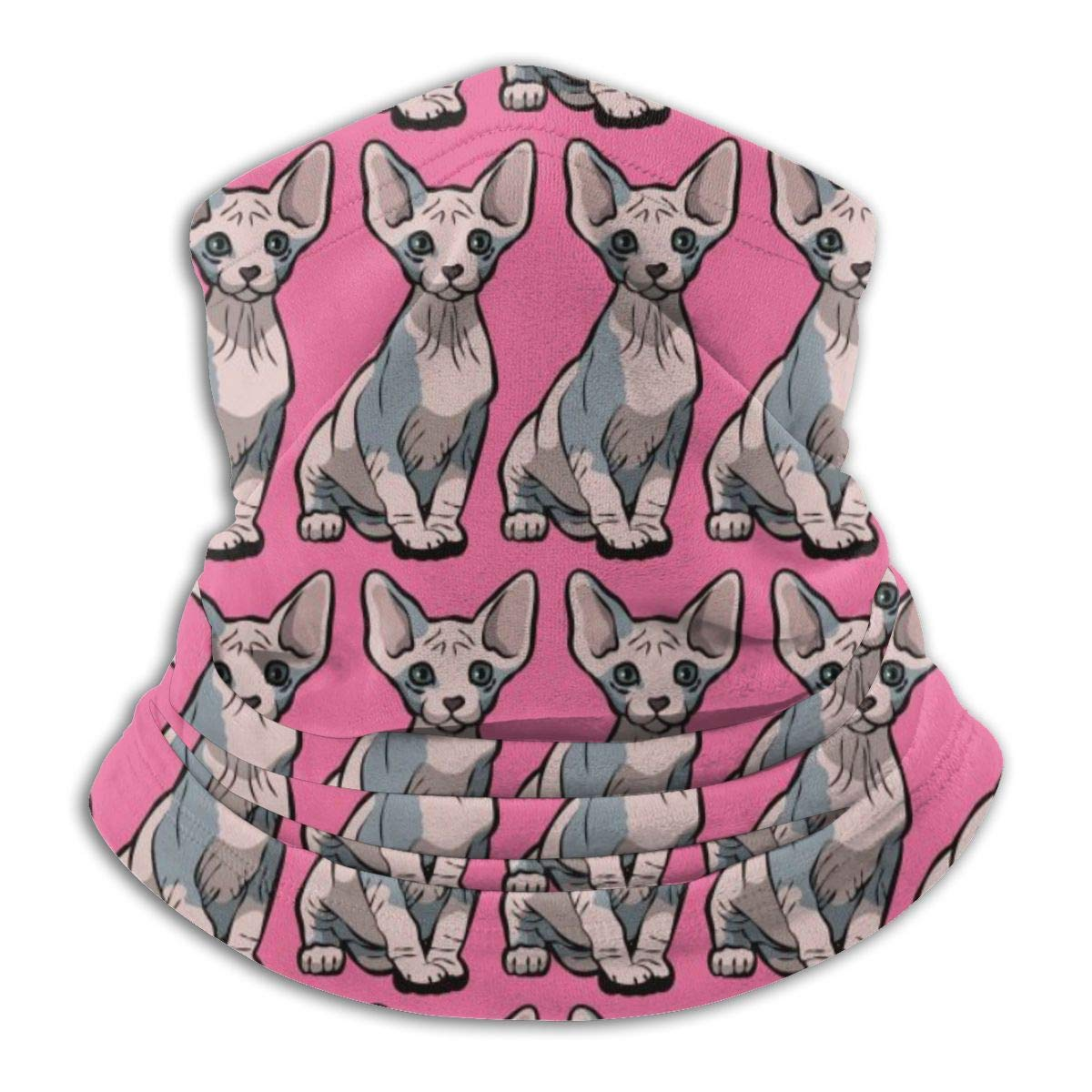Adults Kids Sitting Sphynx Cat Pink Neck Gaiter Tube Ear Warmer Headband Slouchy Beanie Thick Thermal Windproof Face Mask For