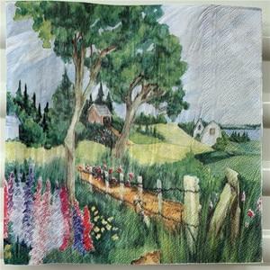 Image 3 - מגזרת נייר חתונה בציר מפיות נייר אלגנטי רקמות נוף כפרי ילדה עץ בית יום הולדת Guardanapo אריזות מפלגה