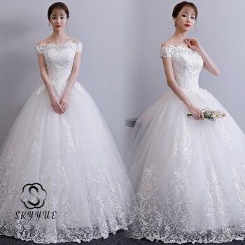 Skyyue White Wedding Dress FR709 Lace Up Floor-Length Bridal Dresses Off The Shoulder Wedding Gowns Embroidery Vestidos De Novia