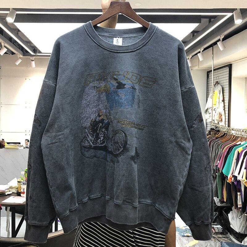 New Men Women Hoodies  Rhude Sweatshirts Vintage Casual Thicken RHUDE  Hoodie Eagle Motorcycle Logo Print