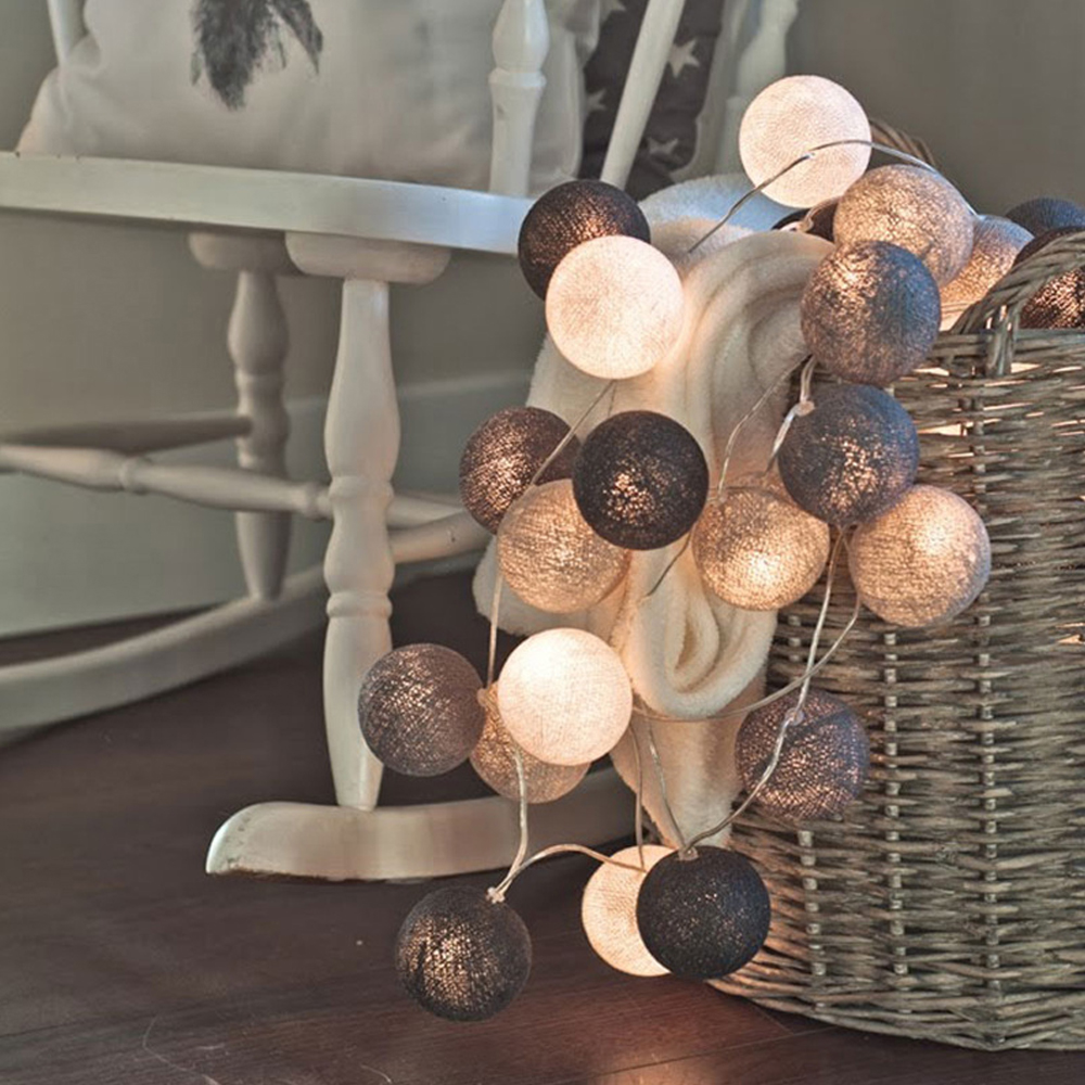 ChicSoleil 3m LED Cotton Ball Light String Outdoor Garland Light ChristmasParty Holiday Wedding  Bedroom Fairy Lights Decoration