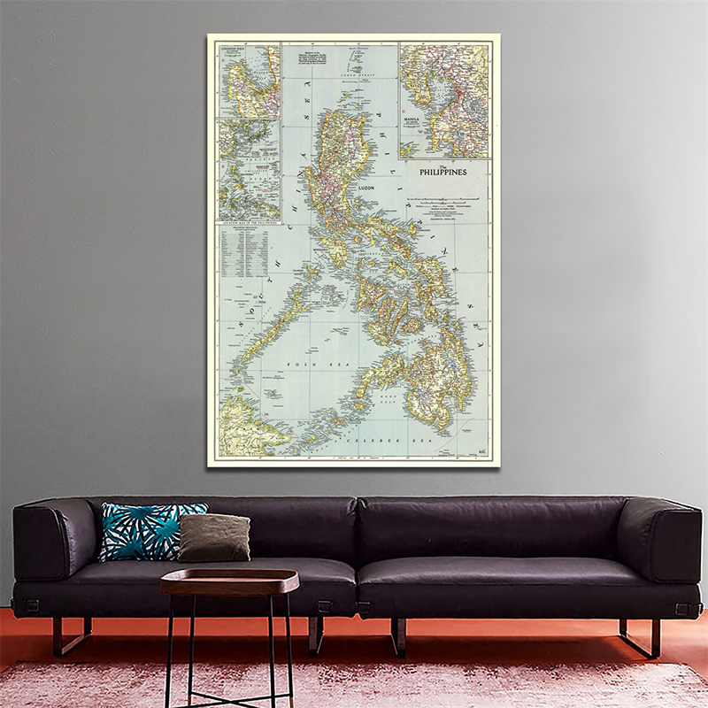 Philippines(1945) World Map Home Decoration Antique Poster Wall Chart Retro Paper Kraft Paper 100x150cm Map Of World No Frame