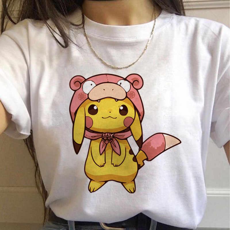 포켓몬 이동 하라주쿠 T 셔츠 여성 카와이 피카추 재미 있은 만화 T 셔츠 90s 귀여운 프린트 Tshirt 패션 Streetwear 탑 티즈 여성