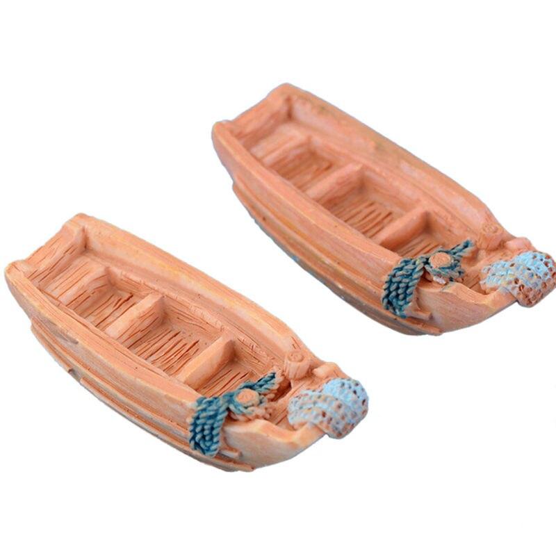 2шт мини смола корабль лодка миниатюра ремесло украшение микро пейзаж мох террариум бонсай фигурки кукольный домик подарок дом декор
