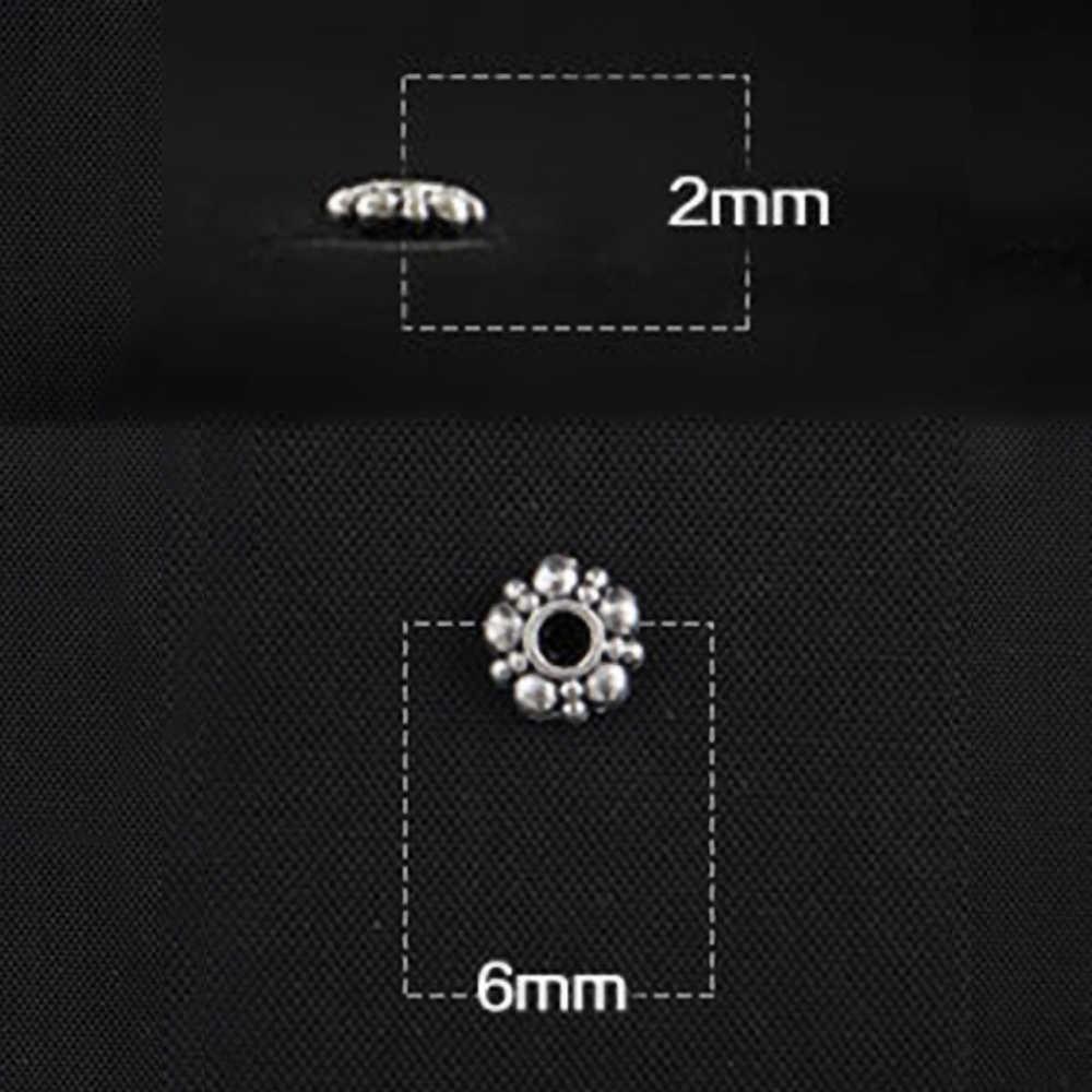 1 個 2*6 ミリメートルチベットシルバートーン金属ビーズルーススペーサービーズジュエリーメイキングのためにブレスレットアクセサリー手作りクラフト 800