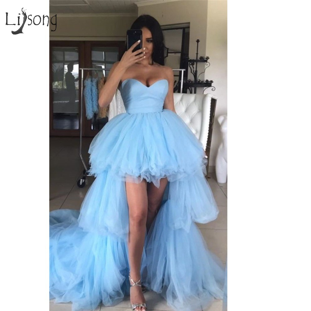 Fashion Ruffles High Low Tutu Prom Dresses Tiered Trendy Long Tulle Prom Gowns Sweetheart Off Shoulder Vestidos Longo