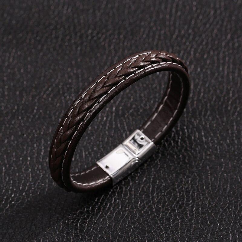 JUNWEI Classic Fashion Simple Men's Bracelet Magnetic Buckle Bracelet Mens Jewellery