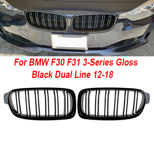 Brand New Gloss Black Front Double Line Kidney Grille Grills For BMW 3 Series F30 2012-ON