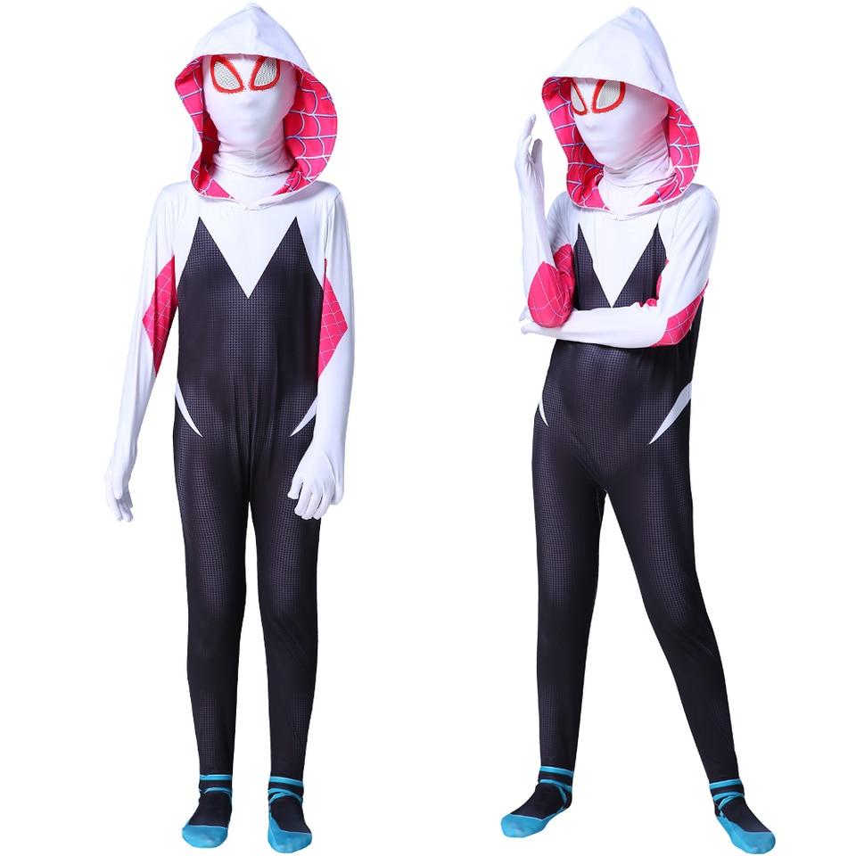 Aceii Spandex Superhero Cosplay Costume Gwen Stacy Halloween Bodysuit Zentai Gwenom Suit with Hoodie