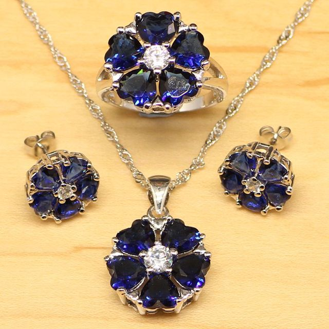 القلب الأزرق زركون الأبيض تشيكوسلوفاكيا مجموعات مجوهرات النساء الفضة اللون مجوهرات أقراط/قلادة/قلادة/حلقة