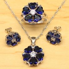 Heart Blue Cubic Zirconia White CZ Jewelry Sets Women Silver Color  Jewelry Earrings/Pendant/Necklace/Ring