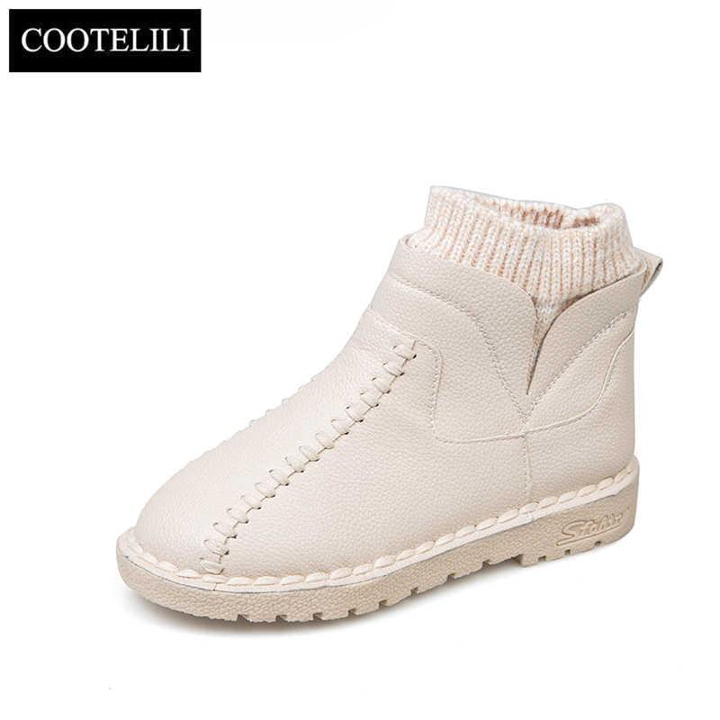 COOTELILI 2019 yeni moda platformu kışlık botlar kar botları ayak bileği çizmeler kadın ayakkabıları siyah çizmeler deri Slip-On Botas Mujer