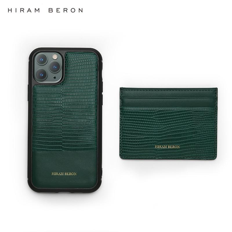 Hiram Beron free custom name service Lizard Pattern green Italian leather card holder luxury leather products dropship