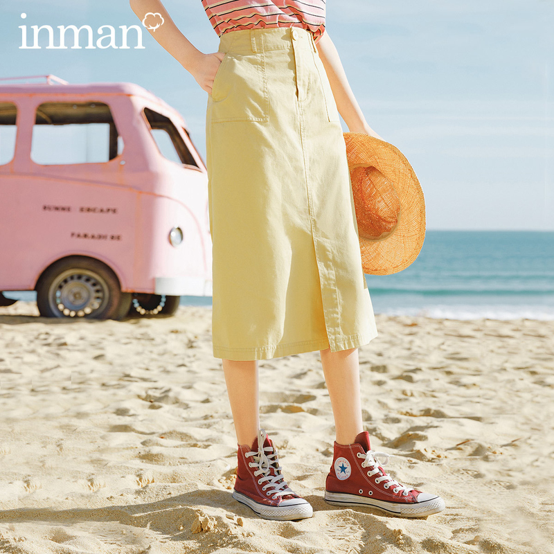INMAN 2020 New Arrival Cotton A-line Front Slit High Waist Concise Style Skirt