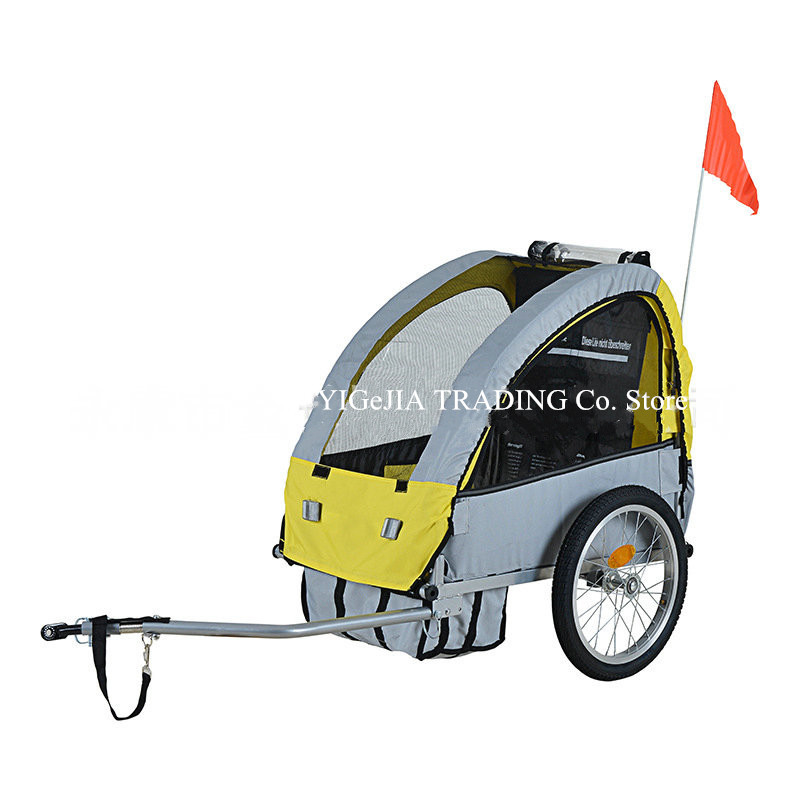 Single Child Bicycle Trailer With Bottom Storage Bag, 2 In 1 Canopy Kids Bike Trailer, Yellow Grey Color Trailer