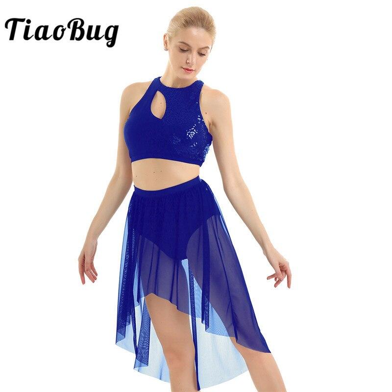 TiaoBug Shiny Sequins Asymmetrical Crop Tops With High-Low Mesh Leotard Skirt Women Gymnastics Ballet Lyrical Dance Costumes Set