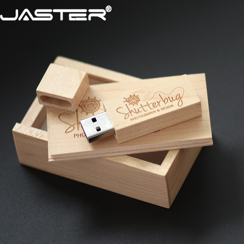 JASTER USB 2.0 Customer LOGO Wooden +box USB Flash Drive Maple Wood Pendrive 4GB 16GB 32GB 64G U Disk Memory Stick Free Shipping