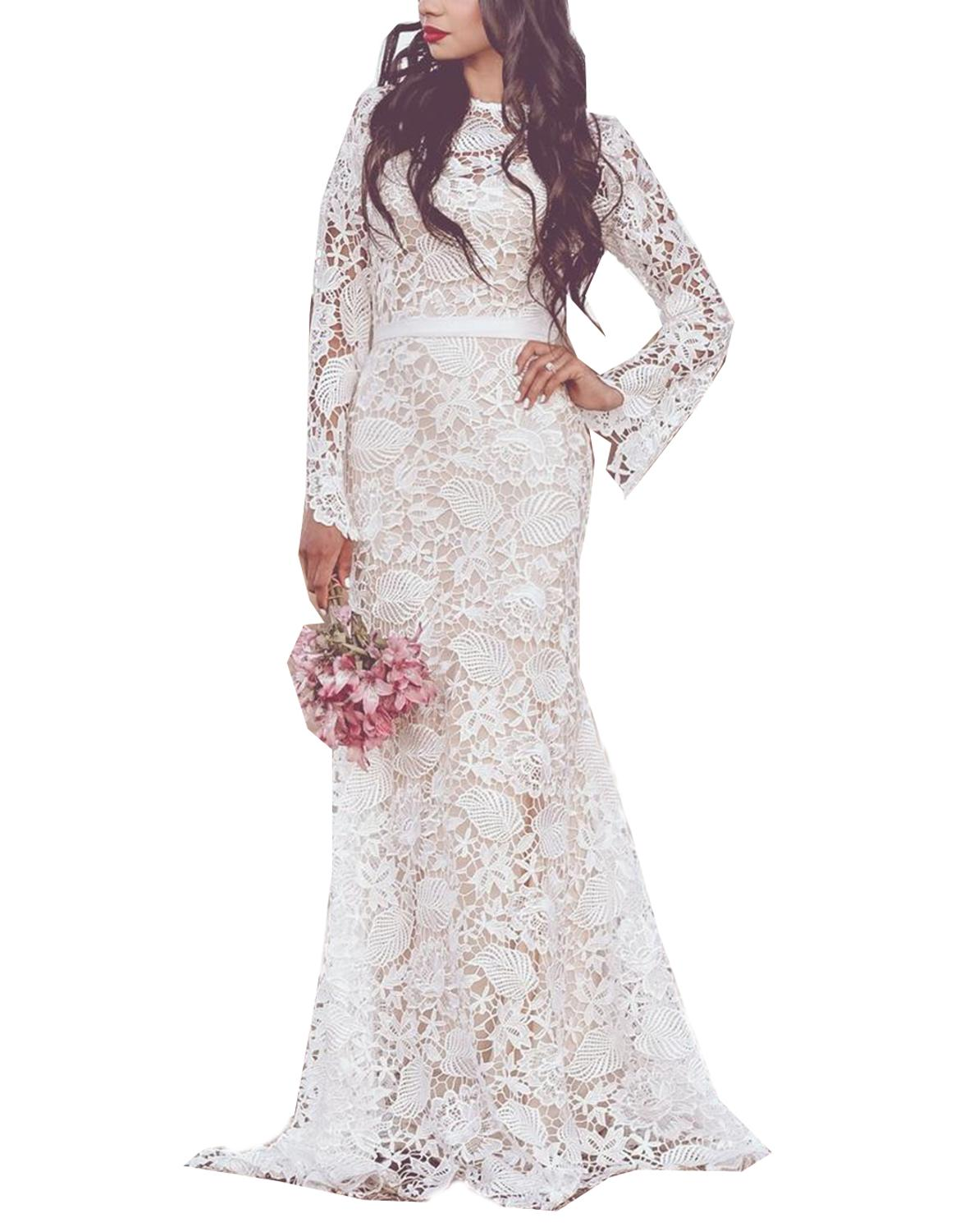 Excellent Wedding Dresses With BowsIvory High Illusion Sexy Bohemian Lace Long Sleeves Sash Dropped Sweep Train Vestido De Noiva