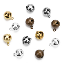 50pcs/lot 6mm/8mm/10mm/12mm/14mm Copper Bells Jingle Small Bells Charms Beads Fit Christmas Decoration Crafts Bells Jewelry 5size 10pcs lot gold silver 30 25 35mm jingle bells fit festival christmas decoration jewelry craft pendants phone decorations