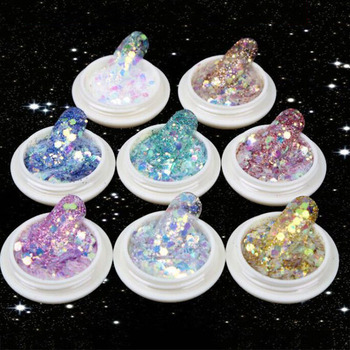 3D Mermaid Sequins Nail Glitter Paillettes Flakes Mixed Mirror Hexagon DIY Spangles Paillette Nail Art Decorations 10ml image