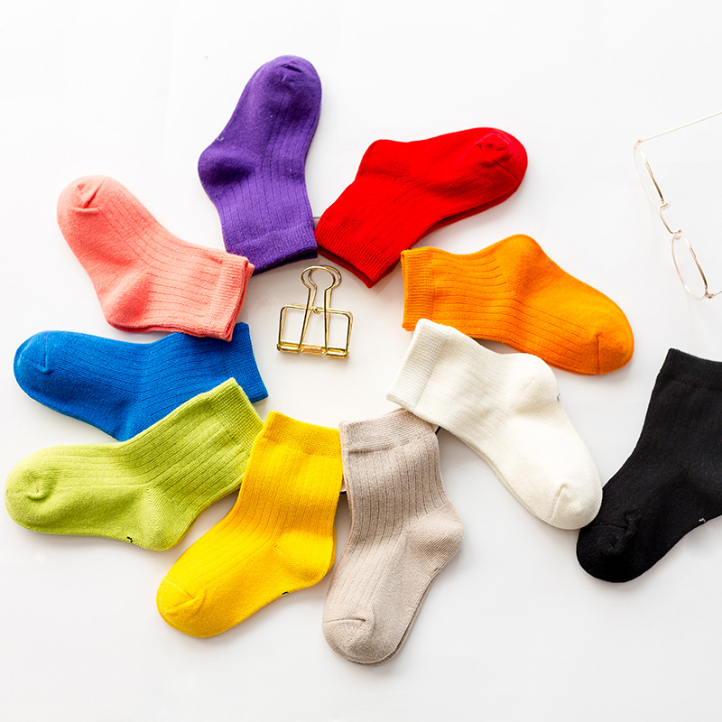 Boy Winter Cotton Socks Children Baby Girl's Stripped Airy Short Ribbed Socks For Baby Kids 1-5Y Girl Solid Color Sock
