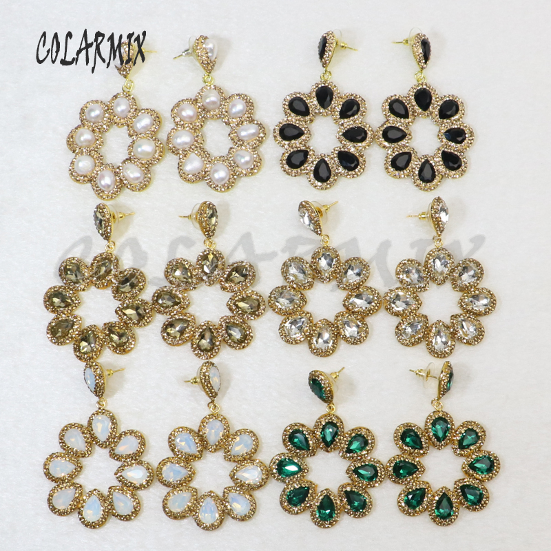 5 pairs crystal earrings jewelry mix colors Gems stone jewelry wholesale jewelry for women hook earring