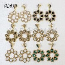 5 쌍 크리스탈 귀걸이 쥬얼리 믹스 색상 보석 스톤 쥬얼리 여성을위한 도매 보석 후크 귀걸이 선물 6065