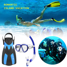 Snorkel Goggles Flippers-Set Diving-Mask Underwater-Mask Glass Package