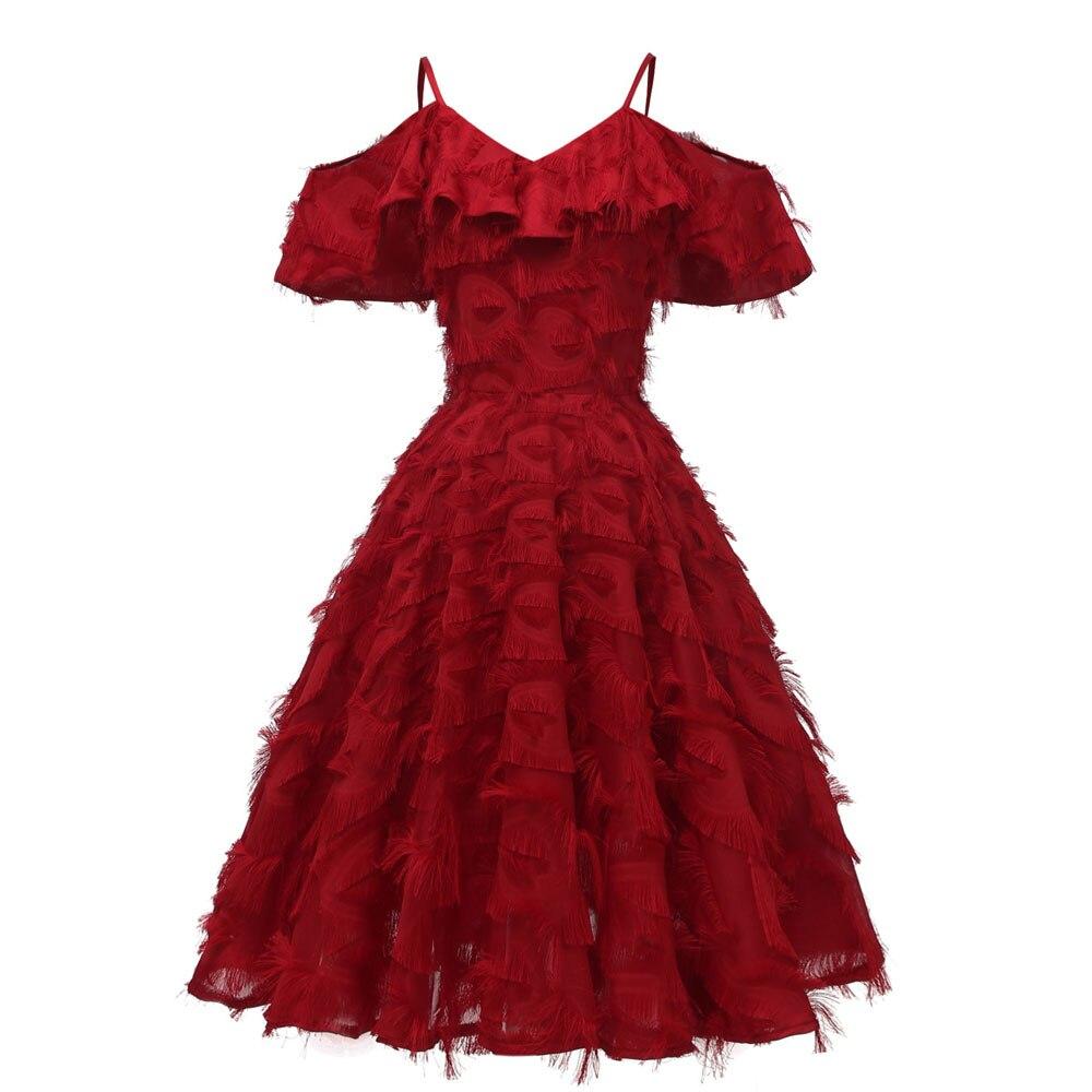 Красное коктейльное платье длиной до колена роскошное вечернее платье трапециевидной формы с кисточками сексуальное платье без рукавов с v-образным вырезом - Цвет: 1424 Red