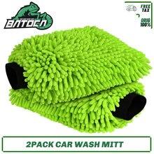 Batoca 2 pacote luva de lavagem de carro microfibra risco lint livre, microfibra chenille luvas de limpeza de carro luva de cera detalhando escova