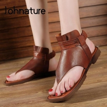 Women Sandals Elastic-Band Flat Genuine-Leather Casual Retro Sewing Johnature with Handmade