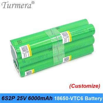 Turmera 6S 21.6V 25.2V Battery 18650 pack vtc6 6S2P 6000mah soldering battery for screwdriver and garden tool customized battery