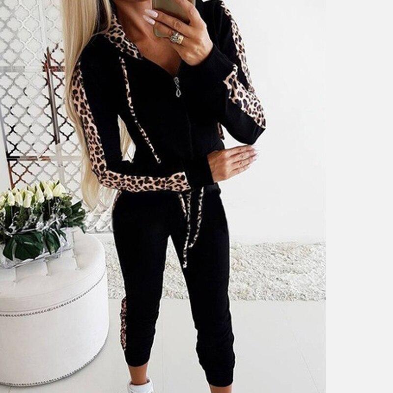 Women Sets Leopard Printing Drawstring Tracksuit Sexy Casual Hooded Sweatshirt Women 2 Piece Outfits Trainingspak Vrouwen