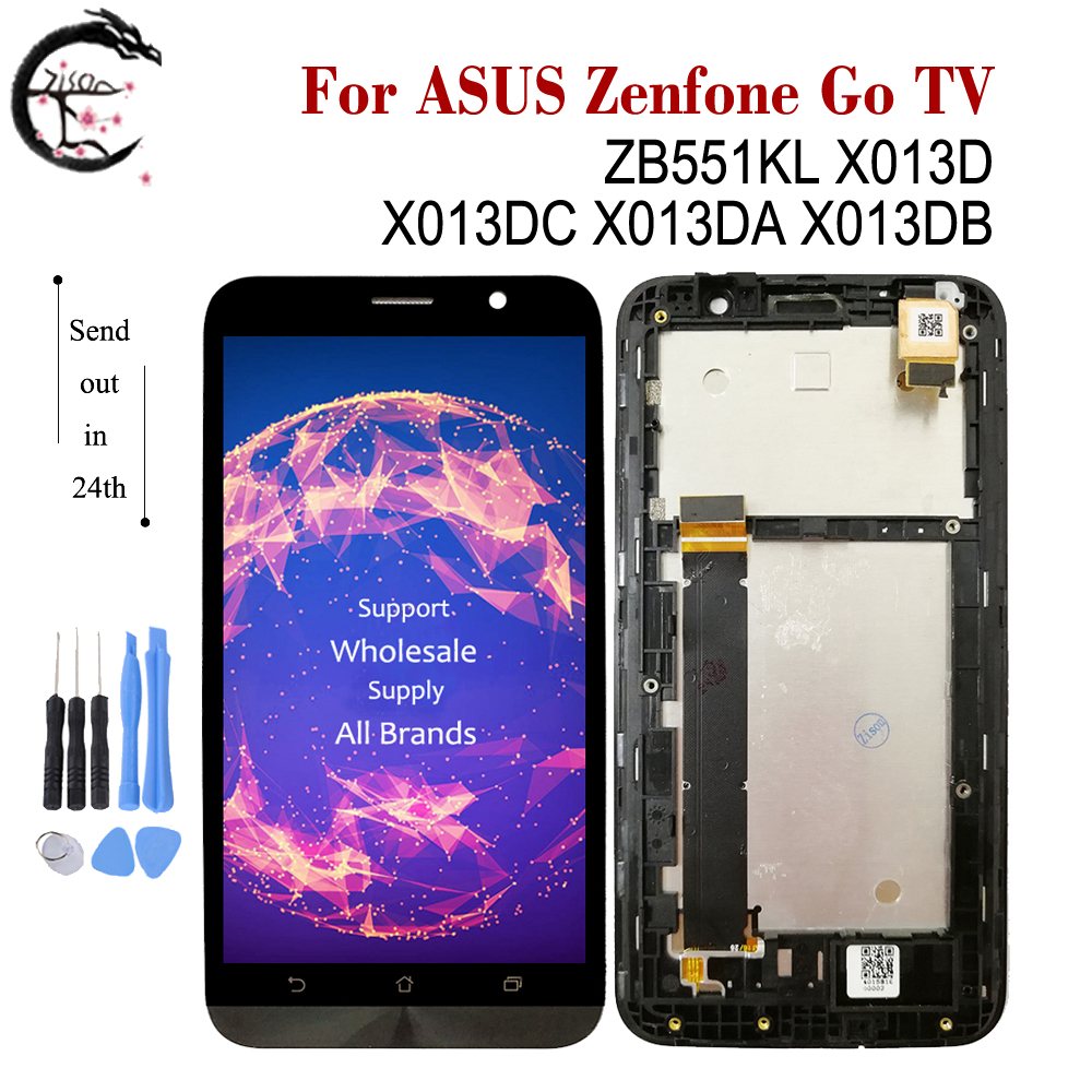 LCD With Frame For <font><b>ASUS</b></font> Zenfone Go TV ZB551KL LCD <font><b>X013D</b></font> X013DC LCD Display Screen Touch Digitizer Full Assembly ZB551KL Display image