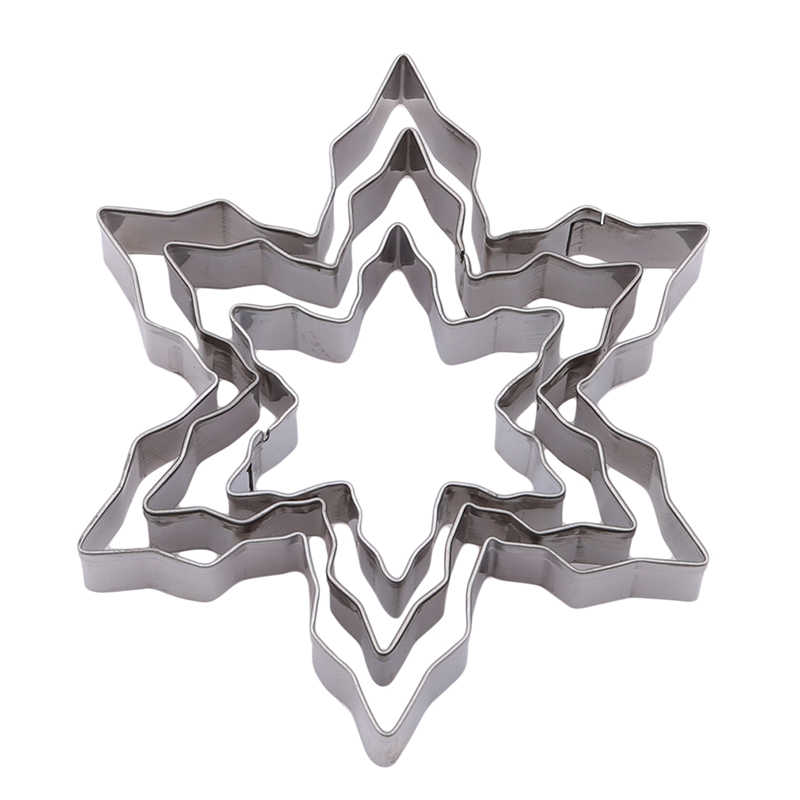 Silver Food Grade Stainless Steel Baking Tool DIY Personality Cookie Cookie 3 Piece Set Snowflake Mold Model-
