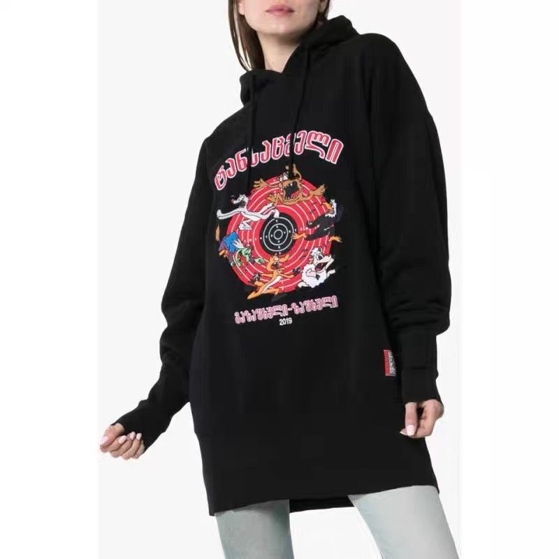 Autumn 2019 New Black Sweatshirt with Cartoon Embroidery Hat Cotton Guard Women Women Clothes Fashion Black Sweatshirt Women in Hoodies amp Sweatshirts from Women 39 s Clothing