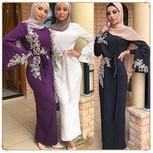 Dubai Arab Islamic Clothing Women Muslim Dress beading Floral Printed Lace up slim Maxi Abaya Dresses Kaftan Islam Costume femme
