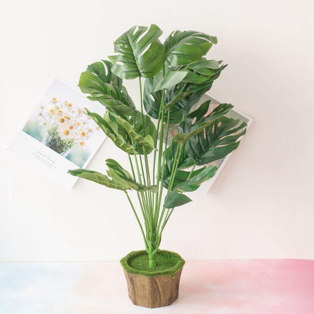 New 18 Forks/Bouquet 54cm Artificial Tropical Palm Leaves Simulation Plants Home Balcony Garden Landscape Decoration Accessories