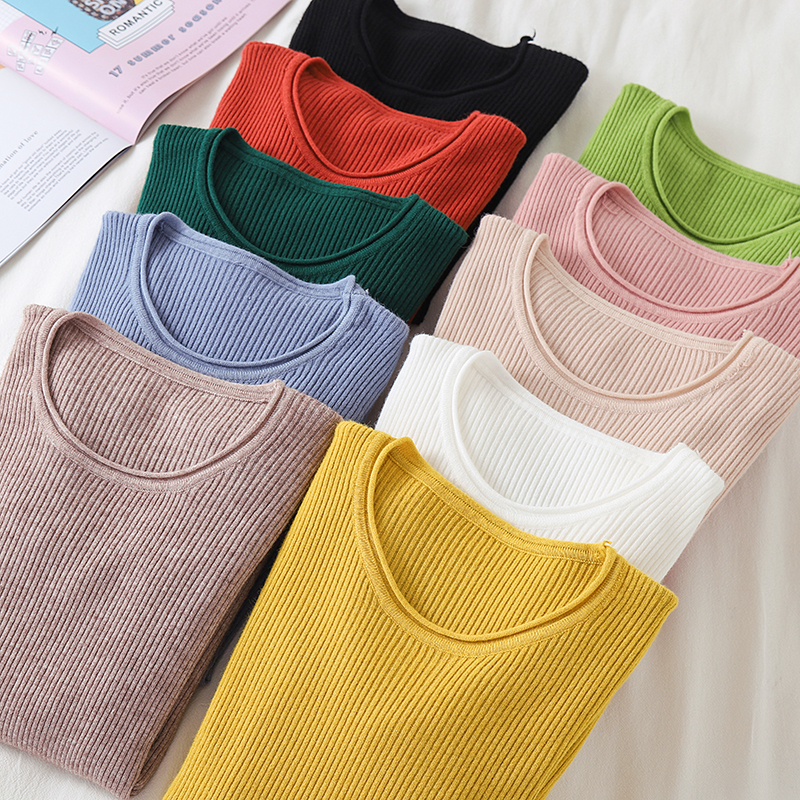 Korean Sweater Women Knitted Sweaters for Women Long Sleeve Basic White Sweater Plus Size Autumn Woman Knit Pullover Sweaters XL