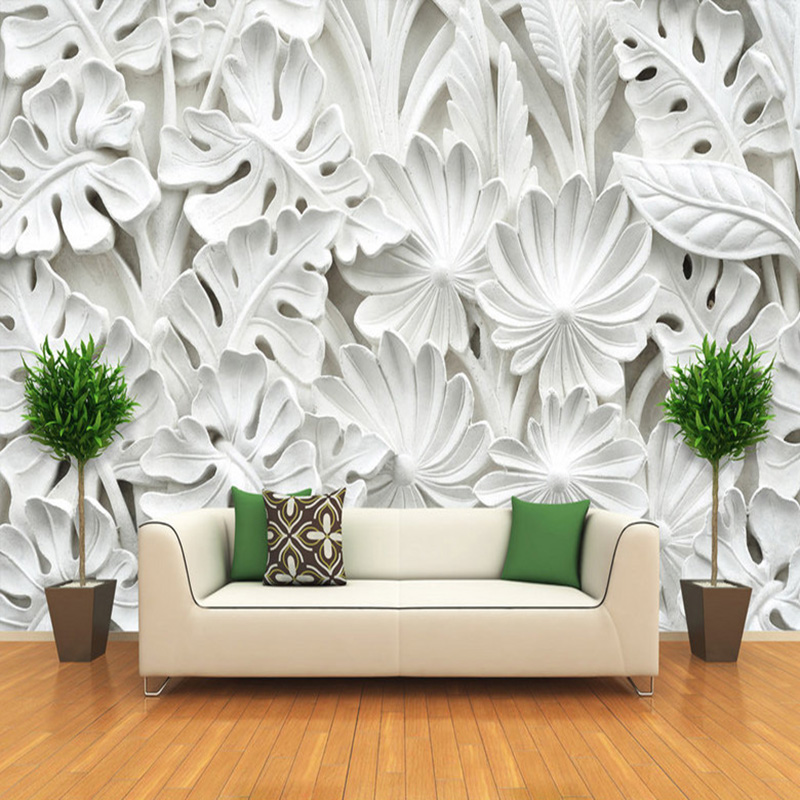 Modern Abstract Wallpaper 3D White Gypsum Leaf Photo Wall Murals Living Room TV Sofa Home Decor PVC Easy Operate 3D Wall Sticker
